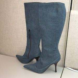 Roberto Cavalli Denim knee high boots